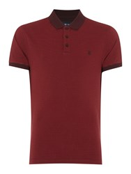 Criminal James Stripe Polo Shirt Burgundy