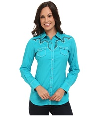 Ariat Willows Snap Shirt Perfect Turquoise Women's Long Sleeve Button Up Blue