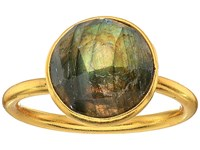 Dee Berkley Single Round Stone Adjustable Ring Labradorite Gray Ring