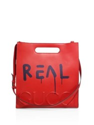 Gucci Printed Leather Tote Bag Red Mult