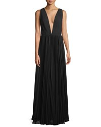 Fame And Partners Allegra Pleated Plunging V Neck Evening Gown Black