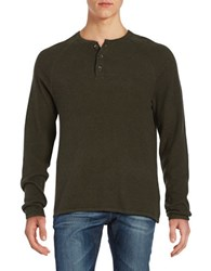 Tailor Vintage Long Sleeve Henley Tee Army