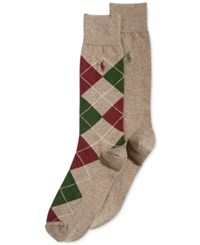 Polo Ralph Lauren Argyle And Solid Crew Socks 2 Pack Oatmeal Hunter