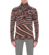 Missoni Wool And Cashmere Blend Jumper With Hand Knitted Embroidery Orange