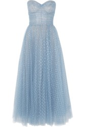 Monique Lhuillier Crystal Embellished Tulle Gown Sky Blue