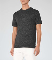 Reiss Preston Mens Stripe Crew Neck T Shirt In Black