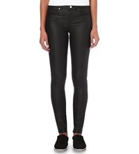 Karen Millen Coated Stretch Denim Skinny Jeans Black
