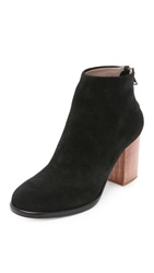 Helmut Lang Zip Ankle Wood Heel Booties Charcoal