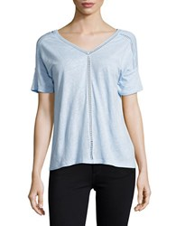 Lord And Taylor Double V Neck Tee Blue