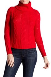 Cotton Emporium Cropped Cable Knit Turtleneck Red