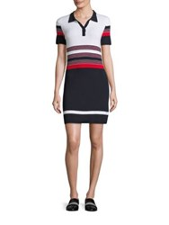 Rag And Bone Krista Striped Polo Dress White Red