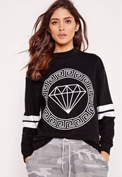Missguided Diamond Front Print Sweatshirt Black Black
