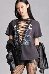 Forever 21 Lace Up Acdc Graphic Band Tee Black