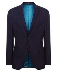 Jaeger Men's Wool Shadow Check Slim Jacket Navy