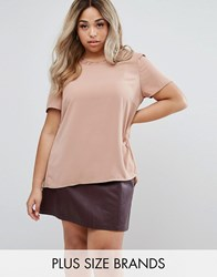 Junarose Short Sleeve Blouse With Button Up Back Tan