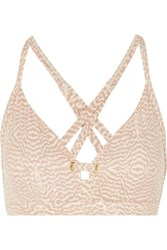 Varley Lindley Eyelet Embellished Printed Stretch Sports Bra Blush