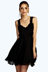 Boohoo Boutique Ruched Chiffon Prom Dress Black