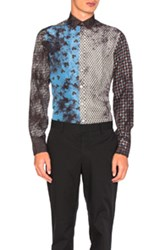 Lanvin Over Dyed Slim Shirt In Floral Ombre And Tie Dye Gray Blue Abstract Floral Ombre And Tie Dye Gray Blue Abstract
