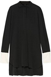 Petar Petrov Oversized Silk Crepe Blouse Black