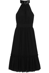Michael Michael Kors Ruffled Embellished Georgette Dress Black