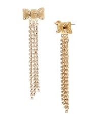 Betsey Johnson Anchors Away Mesh Crystal Bow Fringe Linear Earrings White