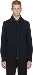 Neil Barrett Navy Magliera Techno Yarn Zip Sweater