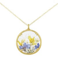 Catherine Weitzman 18Ct Gold Plated Large Wildflowers Round Pendant Necklace Gold Multi