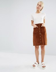 Brave Soul Cord Button Pencil Skirt Tan
