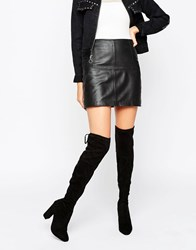 Dune Sibyl Thigh High Suede Heeled Over The Knee Boots Black Suede