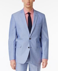 Tommy Hilfiger Men's Slim Fit Stretch Performance Blue Chambray Solid Suit Jacket