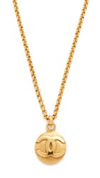 Wgaca Chanel Rough Cc Round Necklace Previously Owned Gold
