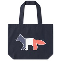 Maison Kitsune Tricolour Fox Tote Bag Black