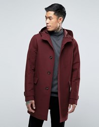 Asos Shower Resistant Hooded Trench Coat In Burgundy Burgundy Red