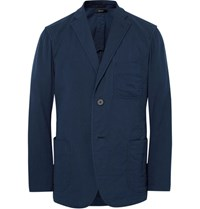 Issey Miyake Men Blue Unstructured Cotton Blazer Navy