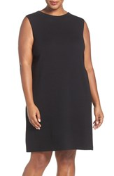 Eileen Fisher Plus Size Women's Wool Crepe Funnel Neck Knee Length Shift Dress Clove
