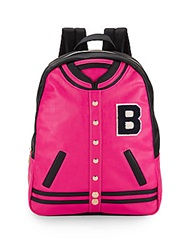 Betsey Johnson Varsity Patent Backpack Fuchsia