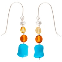 Be Jewelled Sterling Silver Baltic Amber Drop Earrings Amber
