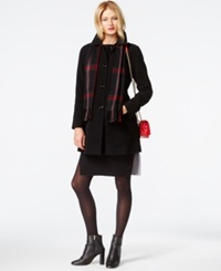 London Fog Peacoat With Plaid Scarf Black
