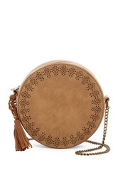 T Shirt And Jeans Laser Cut Crossbody Beige