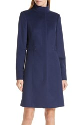 Boss Casenos Wool And Cashmere Coat Navy