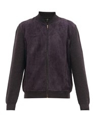 Dunhill Panelled Suede And Merino Bomber Jacket Grey