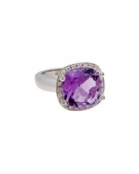 Poiray 18K White Gold Cushion Cut Amethyst And Diamond Ring Purple