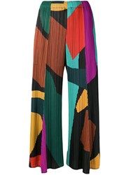 Issey Miyake Pleats Please By Micro Pleated Colour Block Trousers Green