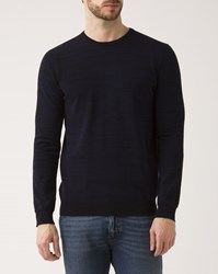 Ikks Navy Blue Marled Crew Neck Sweater
