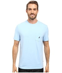 Nautica Short Sleeve Solid Anchor Pocket Tee Noon Blue Men's T Shirt
