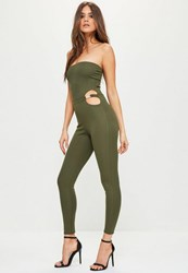 Missguided Khaki Bandeau Buckle Waist Unitard Jumpsuit