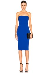 Victoria Beckham Matte Crepe Corset Fitted Dress In Blue