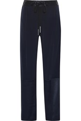 10 Crosby By Derek Lam Satin Paneled Crepe Straight Leg Pants Blue