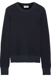 Frame Waffle Knit Cotton And Cashmere Blend Sweater Navy