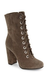 Vince Camuto Women's Teisha Lace Up Zip Bootie Forest Grey Suede